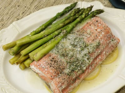 Image forOne-Pan Salmon and Asparagus