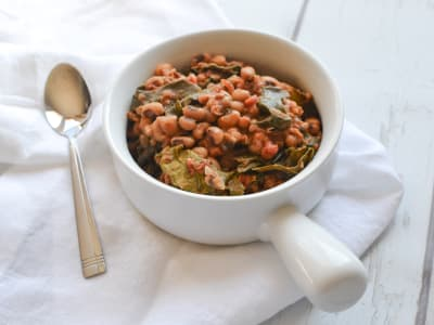 Image forPressure Cooker Black-Eyed Peas with Collard Greens