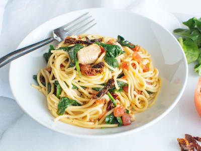 Image forPressure Cooker Chicken Spaghetti with Spinach and Tomatoes