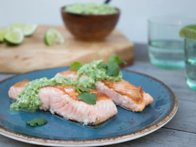 Image forSalmon with Avocado Salsa Verde