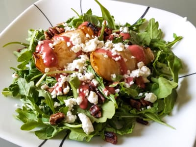 Image forGrilled Pear Salad with Sweet and Tangy Raspberry Vinaigrette
