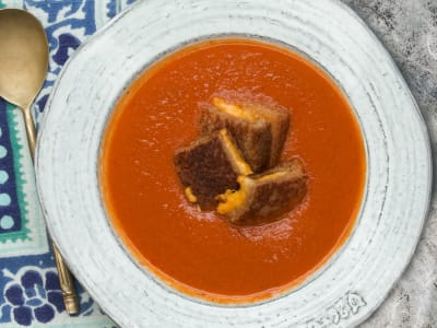 Image forPressure Cooker Creamy Tomato Soup with Grilled Cheese Croutons