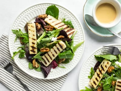 Image forGrilled Hearts of Palm Salad with Candied Walnuts and Goat Cheese