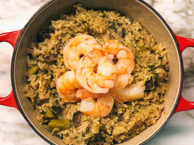 Image forPressure Cooker Coconut Brown Rice Risotto with Vegetables and Shrimp