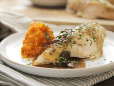 Image forPressure Cooker Chicken with Sweet Potato Puree and Mushroom Sauce