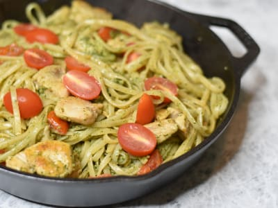 Image forSkillet Pesto Chicken with Linguine