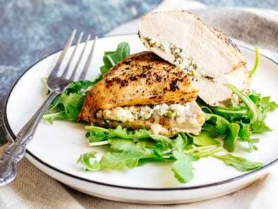 Image forBaked Arugula Lemon Chicken with Goat Cheese