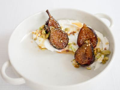 Image forGreek Yogurt with Caramelized Figs and Pistachios