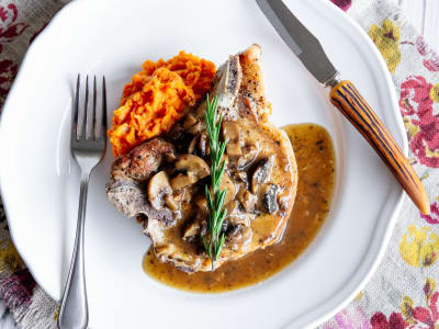Image forPressure Cooker Pork Chops with Sweet Potato Purée and Mushroom Gravy