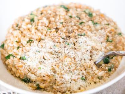 Image forPressure Cooker Creamy Spinach Parmesan Farro