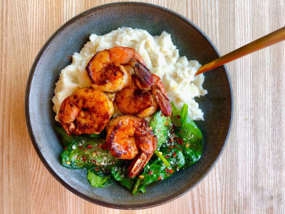 Image forPressure Cooker Creamy Cauliflower Mash with Paprika Garlic Shrimp and Sauteed Spinach