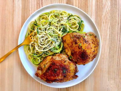Image forPressure Cooker Crispy Chicken Thighs with Lemon Herb Zucchini Noodles