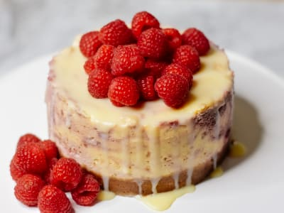 Image forPressure Cooker Raspberry White Chocolate Cheesecake