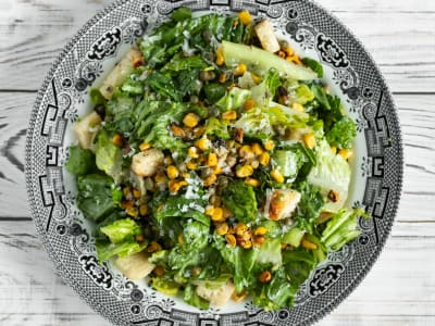 Image forGrilled Corn Caesar Salad with Fried Capers
