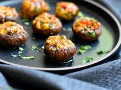 Image forCrispLid Bharwan Kumbh (Indian Spiced Stuffed Mushrooms)