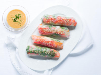Image for Vegetable Spring Rolls with Peanut Sauce