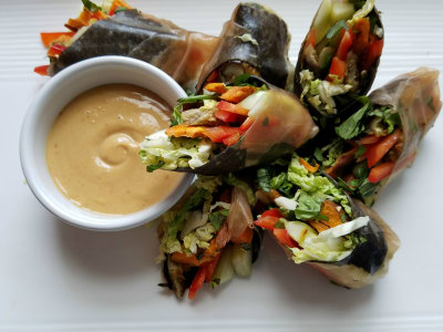 Image for Raw and Roasted Vegetable Summer Rolls with Peanut Dipping Sauce