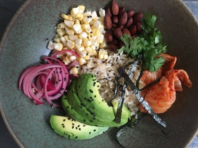 Image for Brown Rice Bowl with Avocado, Pickled Red Onions, and Lemon-Tahini Dressing