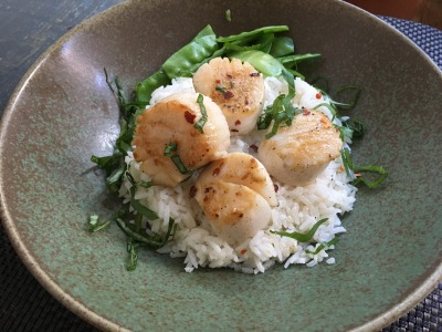 Image for Seared Scallops with Coconut Rice and Snow Peas