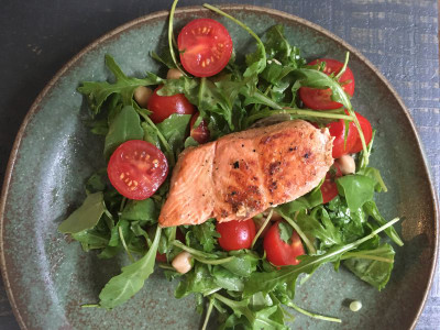 Image for Miso-and-Mustard Marinated Salmon with Tomato, Chickpea, and Arugula Salad