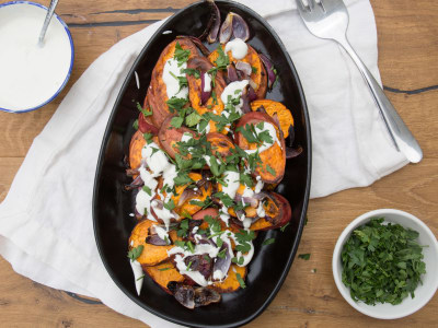 Image for Roasted Sweet Potatoes with Red Onion and Tahini Yogurt
