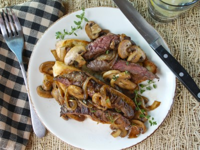 Image for Savory Steak with Balsamic Mushrooms over Garlic Ciabatta