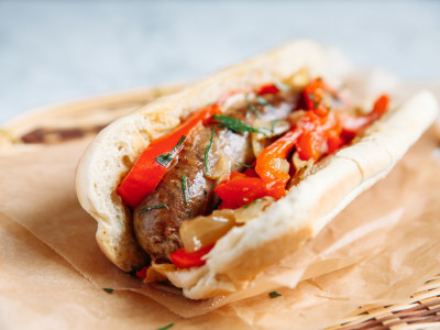 Image for Pressure Cooker Beer-Braised Sausage with Peppers