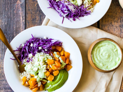 Image for Brown Rice Buddha Bowls with Butternut Squash and Herby Yogurt Sauce