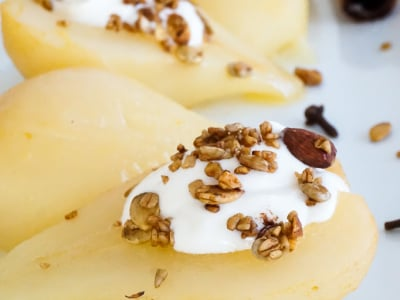 Image for Citrus-Braised Pears with Whipped Honey Ricotta