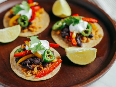 Image for Vegetarian Tacos with Beans and Mexican Rice