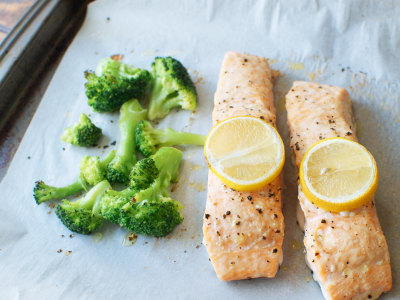 Image for Sheet Pan Lemon-Garlic Salmon with Broccoli