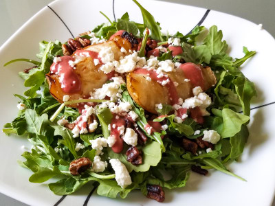 Image for Grilled Pear Salad with Sweet and Tangy Raspberry Vinaigrette