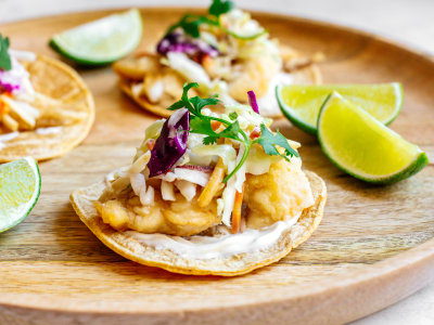 Image for Pan-Fried Fish Tacos with Spicy Slaw