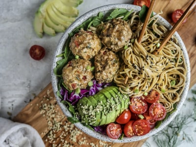 Image for Pressure Cooker Asian Turkey Meatballs with Asian Spiced Soy Dipping Sauce
