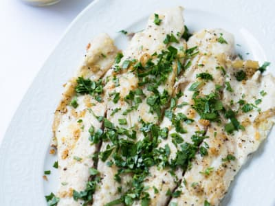 Image for Pan-Fried Sea Bass in a Lemon-Caper Sauce