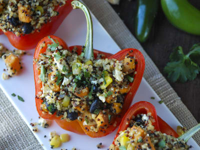 Image for Quinoa, Black Bean and Sweet Potato Stuffed Peppers