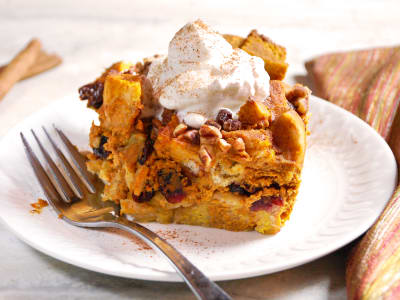 Image for Pumpkin Spice Bread Pudding with Maple Whipped Cream