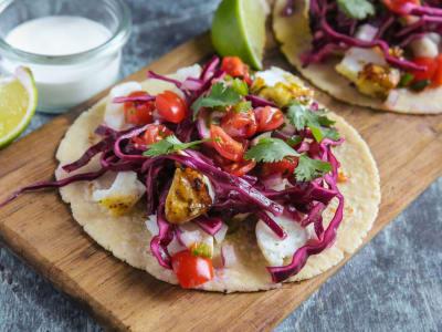 Image for Cumin Cod Tacos with Handmade Corn Tortillas, Lemon Cabbage Slaw, Cherry Tomato Pico de Gallo, and Lime Creme Fraiche