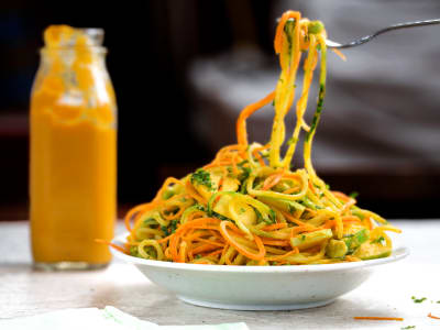 Image for Spiralized Cucumber-Carrot Salad with a Creamy Ginger Dressing