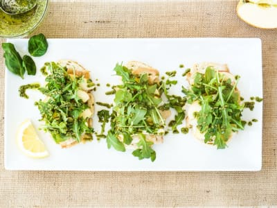 Image for Open-Faced Turkey Sandwich with Apple, Cheddar, and Pesto