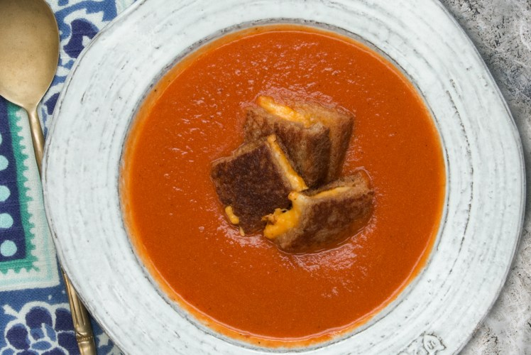 Image for Pressure Cooker Creamy Tomato Soup with Grilled Cheese Croutons