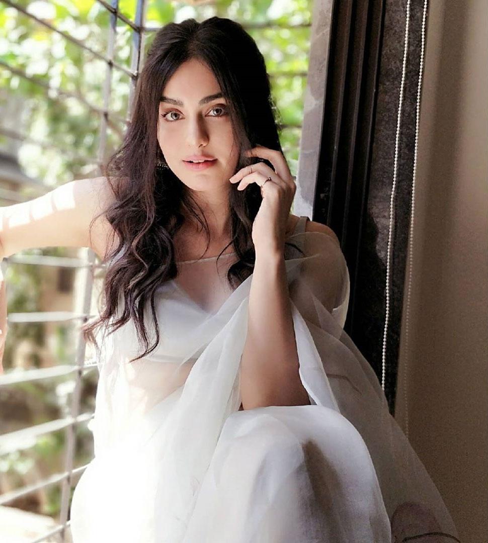 adah sharma hot in white saree