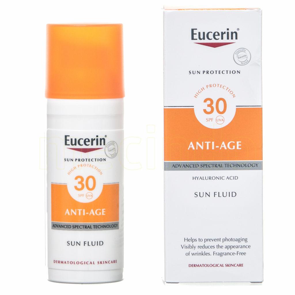 Eucerin Sun Fluid Anti-Age SPF30 kun 179,00 kr - mecindo.no