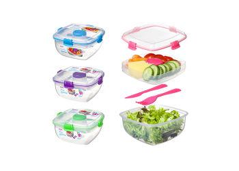 Sistema Madkasse Til Salat 1,1l Blå, Lilla, Pink, Grøn.