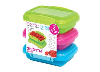 Sistema Opbevaringsboks 3-pack 200 ml Blå, pink, grøn