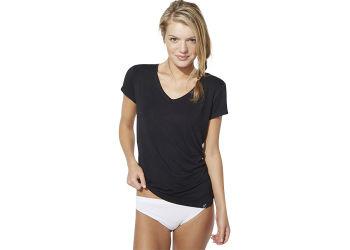 Boody T-shirt Dame Sort V-hals Str. M
