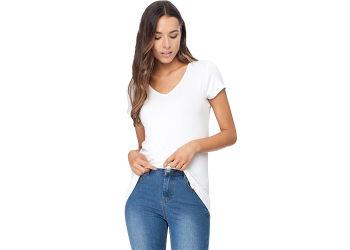 Boody T-shirt Dame Hvid V-hals Str. S