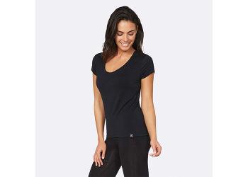 Boody T-shirt Dame Sort V-hals Str. XL