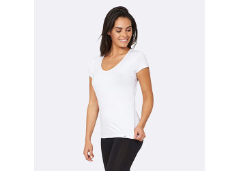 Boody T-shirt Dame Hvid V-hals Str. XL
