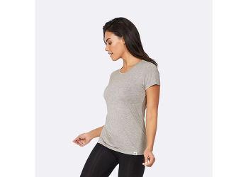 Boody T-shirt Dame Lys Grå Rund Hals Str. L